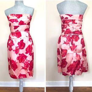 Kay Unger pink floral strapless silk dress